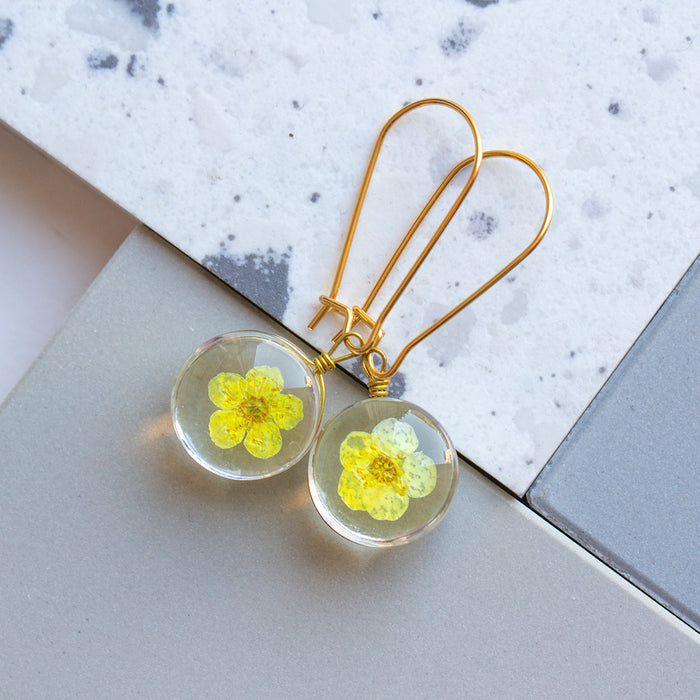 Eternal Flowers Encapsulated Earrings-Earrings-Studio Hop-Yellow Single Flower-Studio Hop
