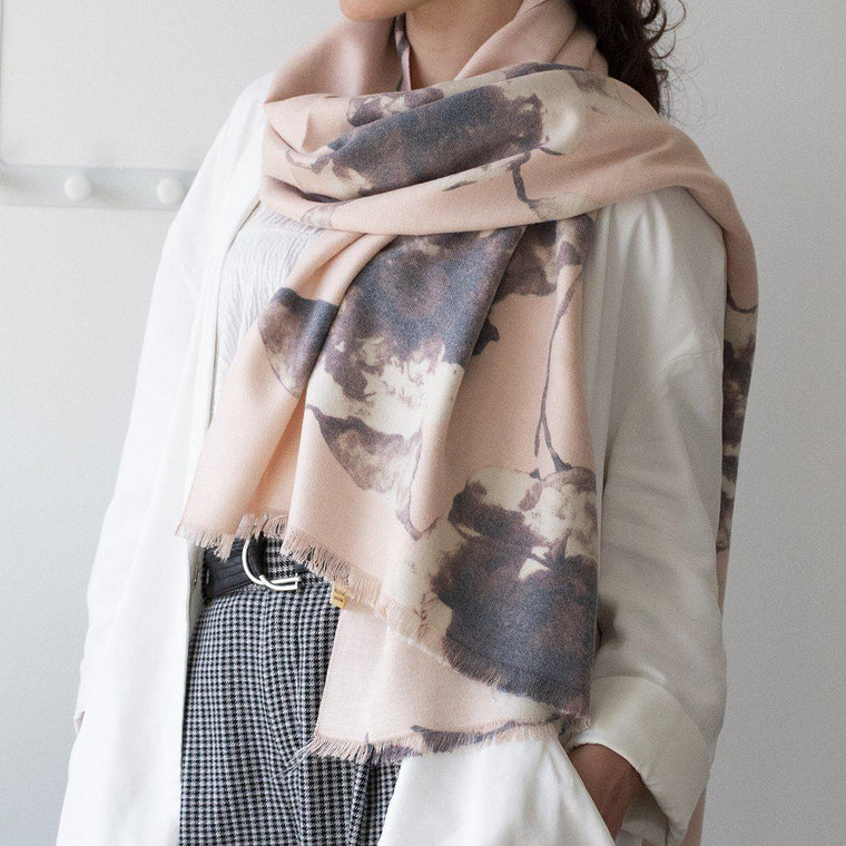 Personalised Faded Florals Soft Seasonal Scarf