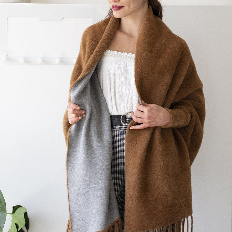 Feather Effect Sleeved Blanket Wrap