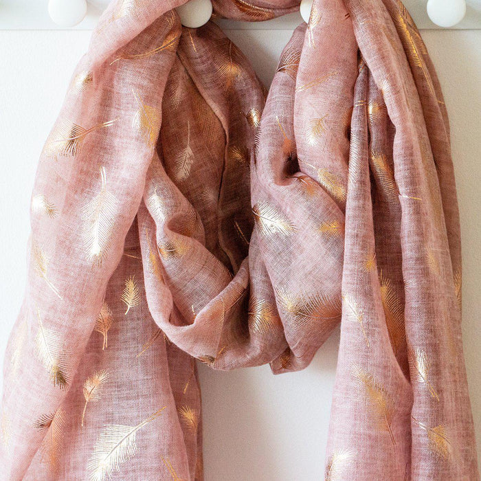 Feather Dye Effect Foil Print Scarf-Scarf-Studio Hop-Dusty Pink-Studio Hop