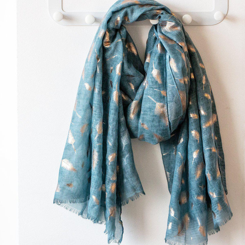 Feather Dye Effect Foil Print Scarf-Scarf-Studio Hop-Teal-Studio Hop