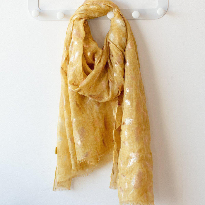 Feather Dye Effect Foil Print Scarf-Scarf-Studio Hop-Yellow-Studio Hop