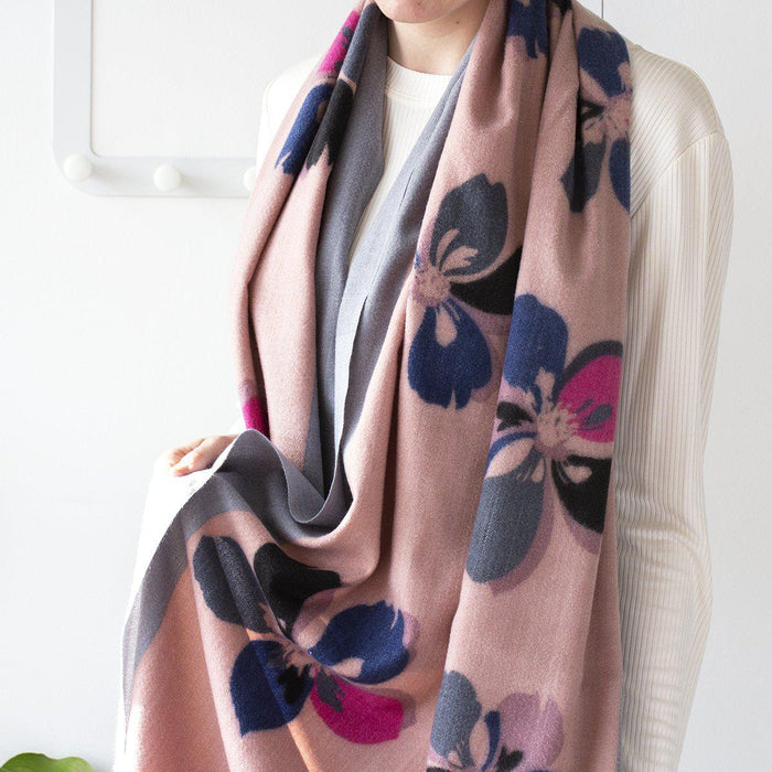 Personalised Floral Print Bordered Scarf