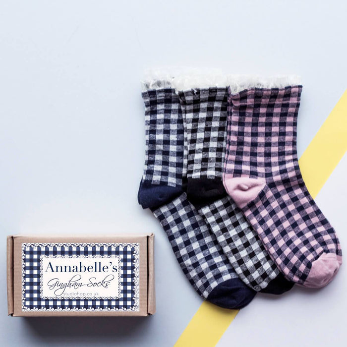 Personalised Gingham Lace Socks