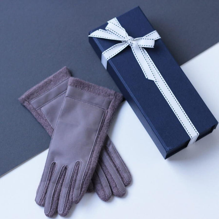 Gloves - Merino Wool Gloves With Faux Leather Finish