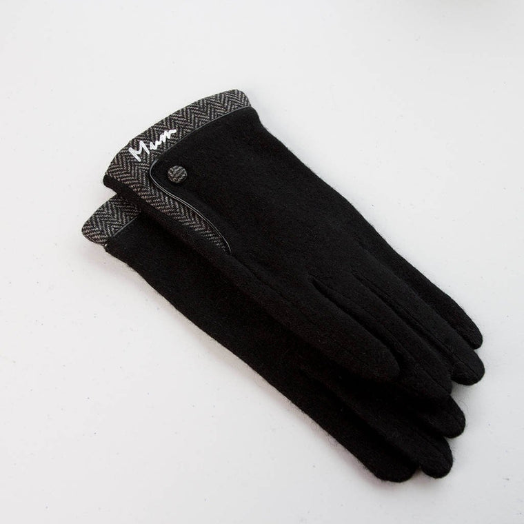 Gloves - Personalised Merino Wool Gloves With Herringbone Cuff