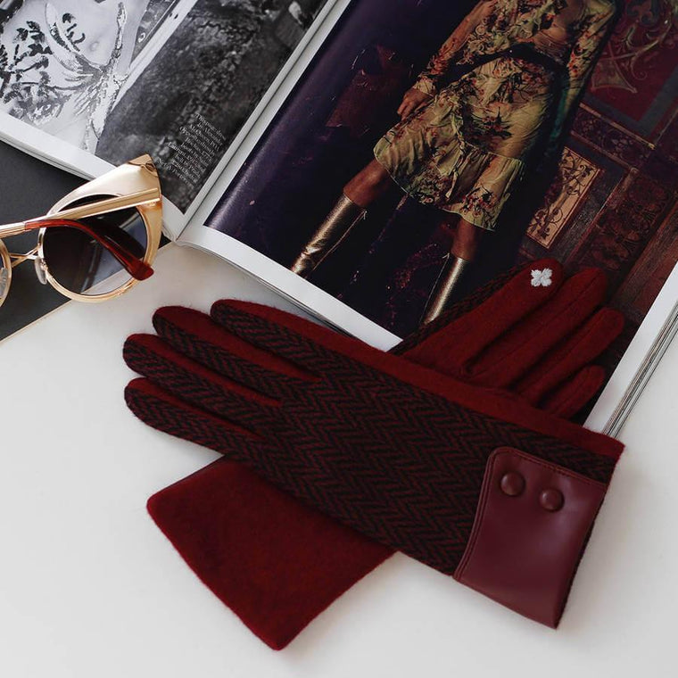 Wool Herringbone Touch Screen Gloves With Leather Cuff
