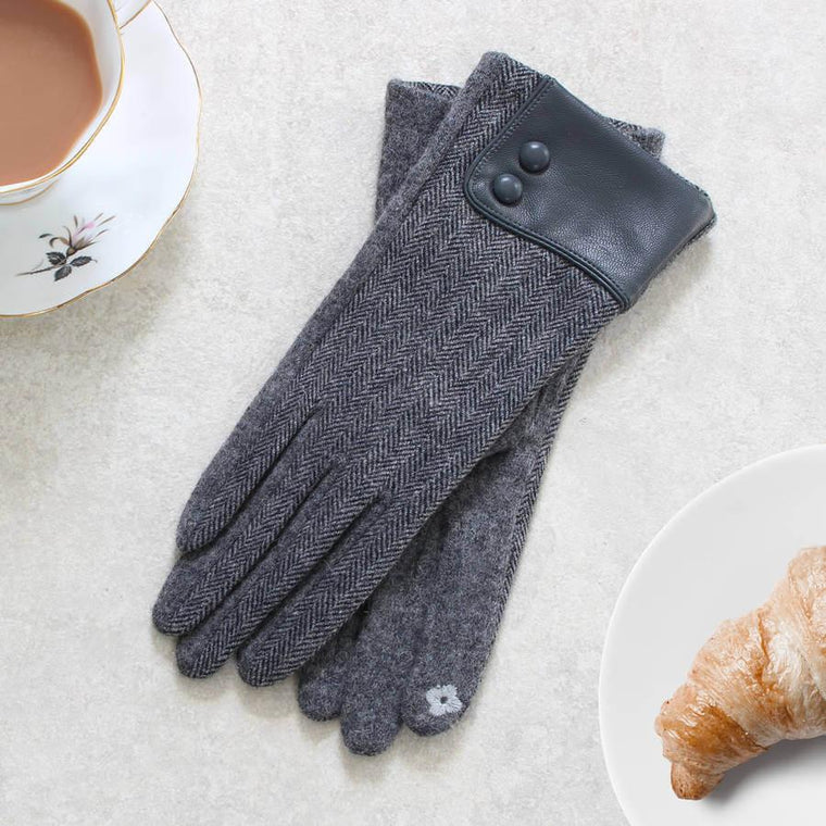 Gloves - Wool Herringbone Touch Screen Gloves With Leather Cuff