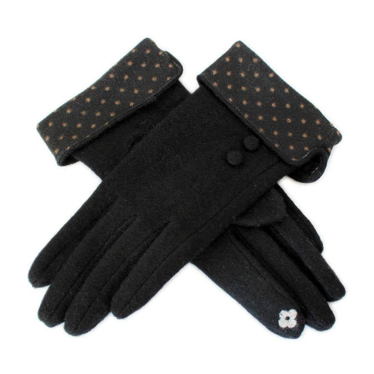 Wool Touch Screen Gloves With Foldable Polka Dot Cuff