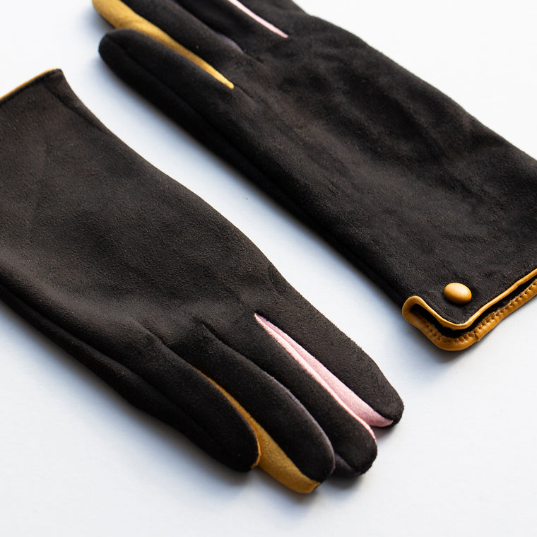 Colour Pop Suede Effect Gloves
