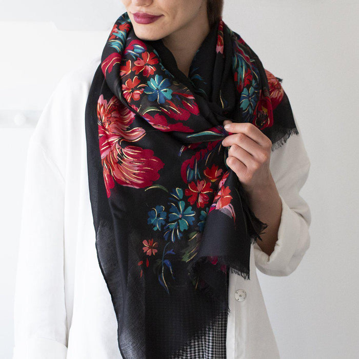 Gold Effect Summer Florals Print Scarf