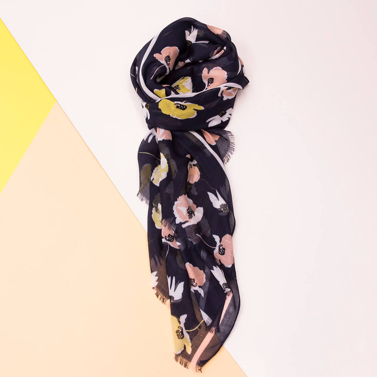 Graphic Flowers Summer Scarf