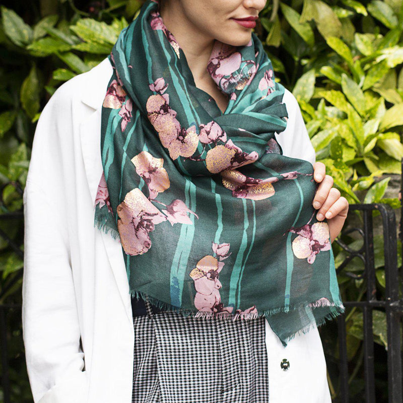 Personalised Golden Orchids Print Scarf