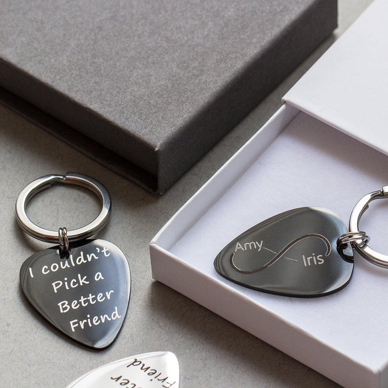 I Couldn't Pick a Better Friend' Guitar Photo Keyring-Keyrings-Studio Hop-Silver Base-Studio Hop