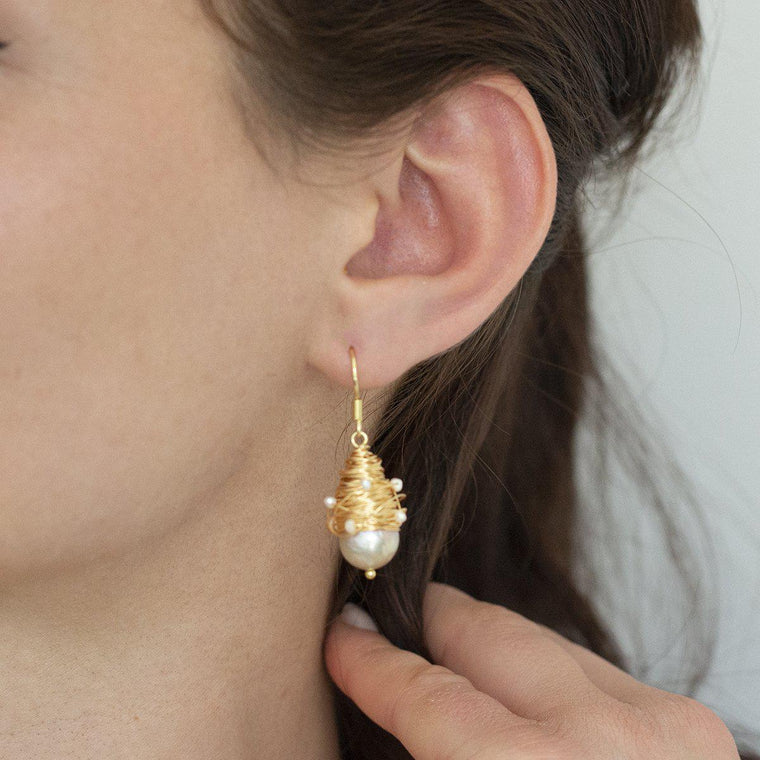 Hand Made Pearl Drop Earring