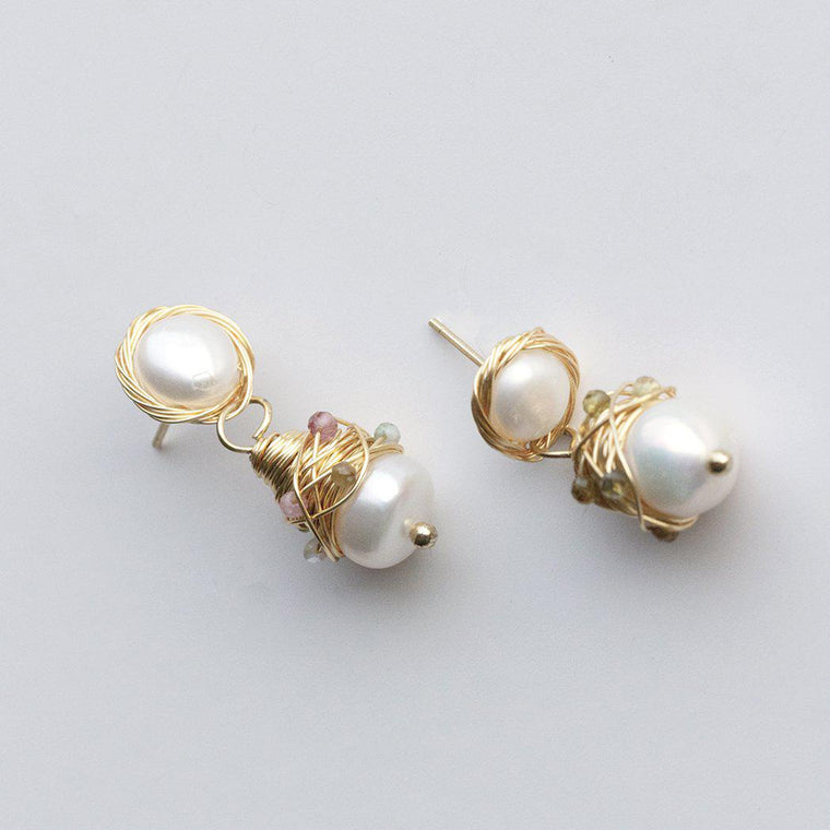Hand Made Pearl Drop Colourful Earring