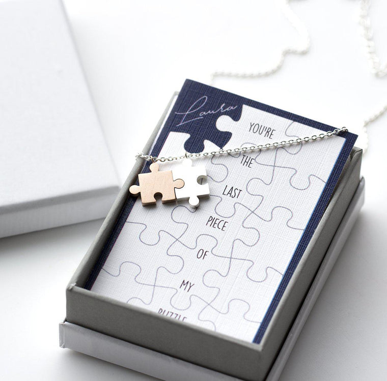Personalised Never Be Apart Jigsaw Necklace
