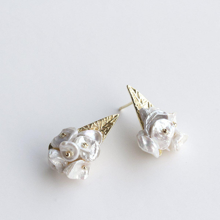 Keshi Pearl Cluster Earrings