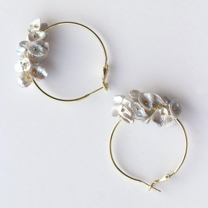 Keshi Pearl Cluster Hoop Earrings