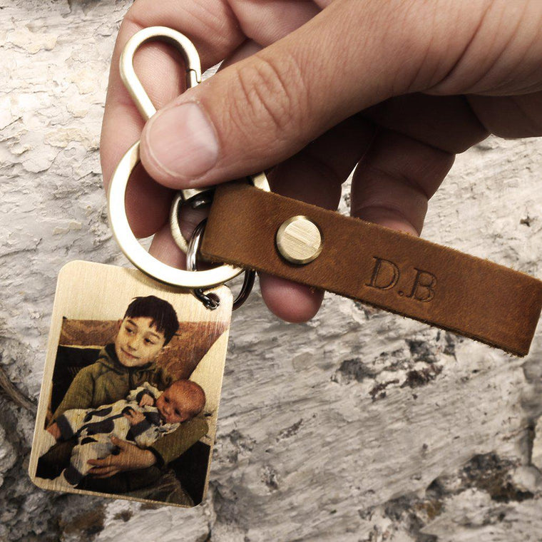Monogrammed Leather Key Ring with Personalised Photo