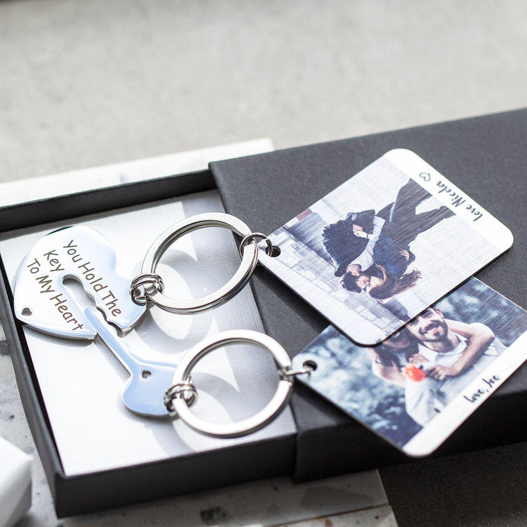 The Key To My Heart Personalised Photo Keyring Duo