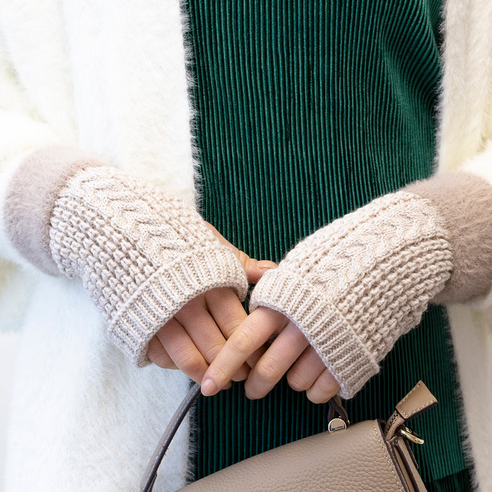 Cosy Cable Knit Fingerless Gloves