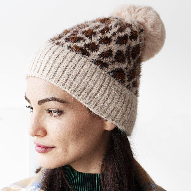 Cosy Leopard Knit Beanie Hat
