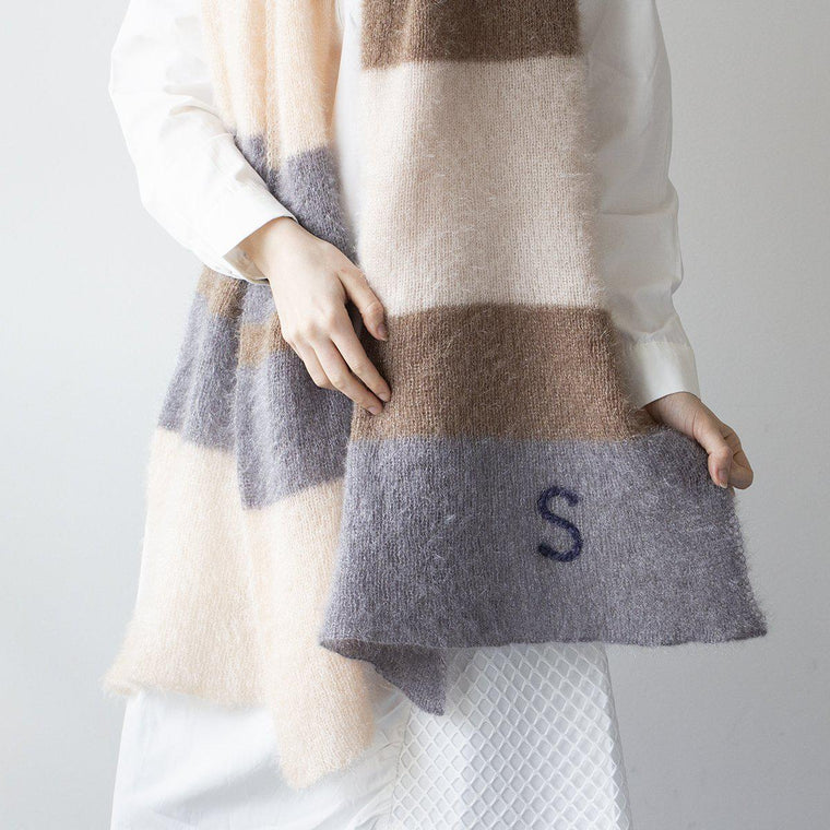 Personalised Fluffy Stripes Knit Scarf