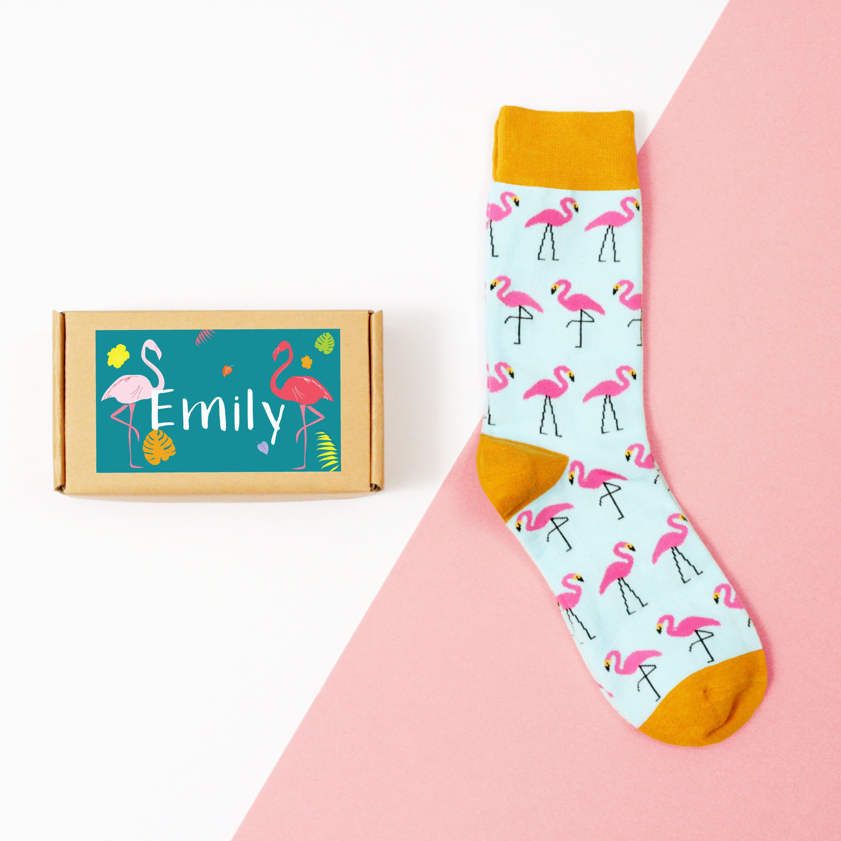 Personalised Flamingo Sock Box