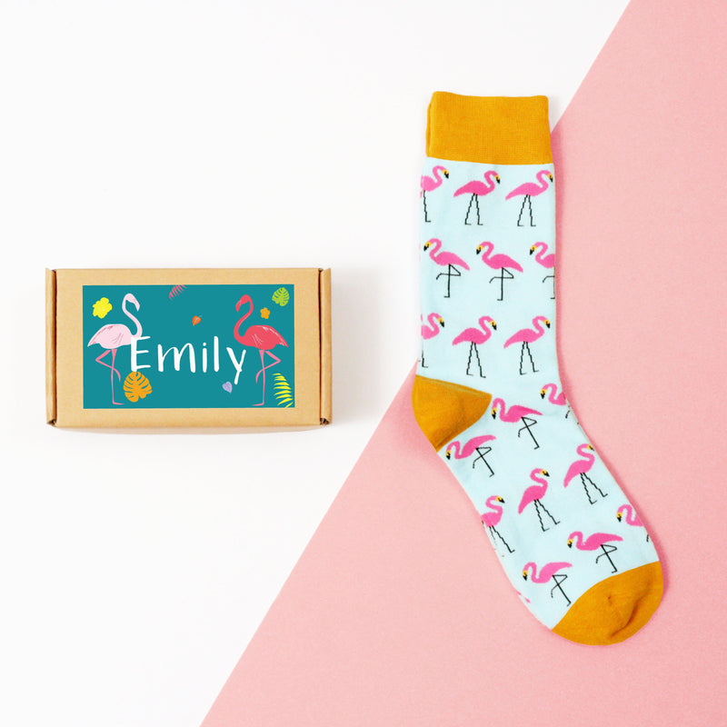 personalised-flamingo-sock-box