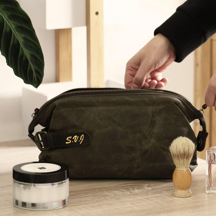Men's Waxed Canvas Wash Bag