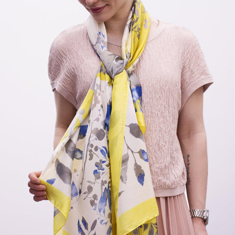 Leaves & Colours Patchwork Silky Scarf