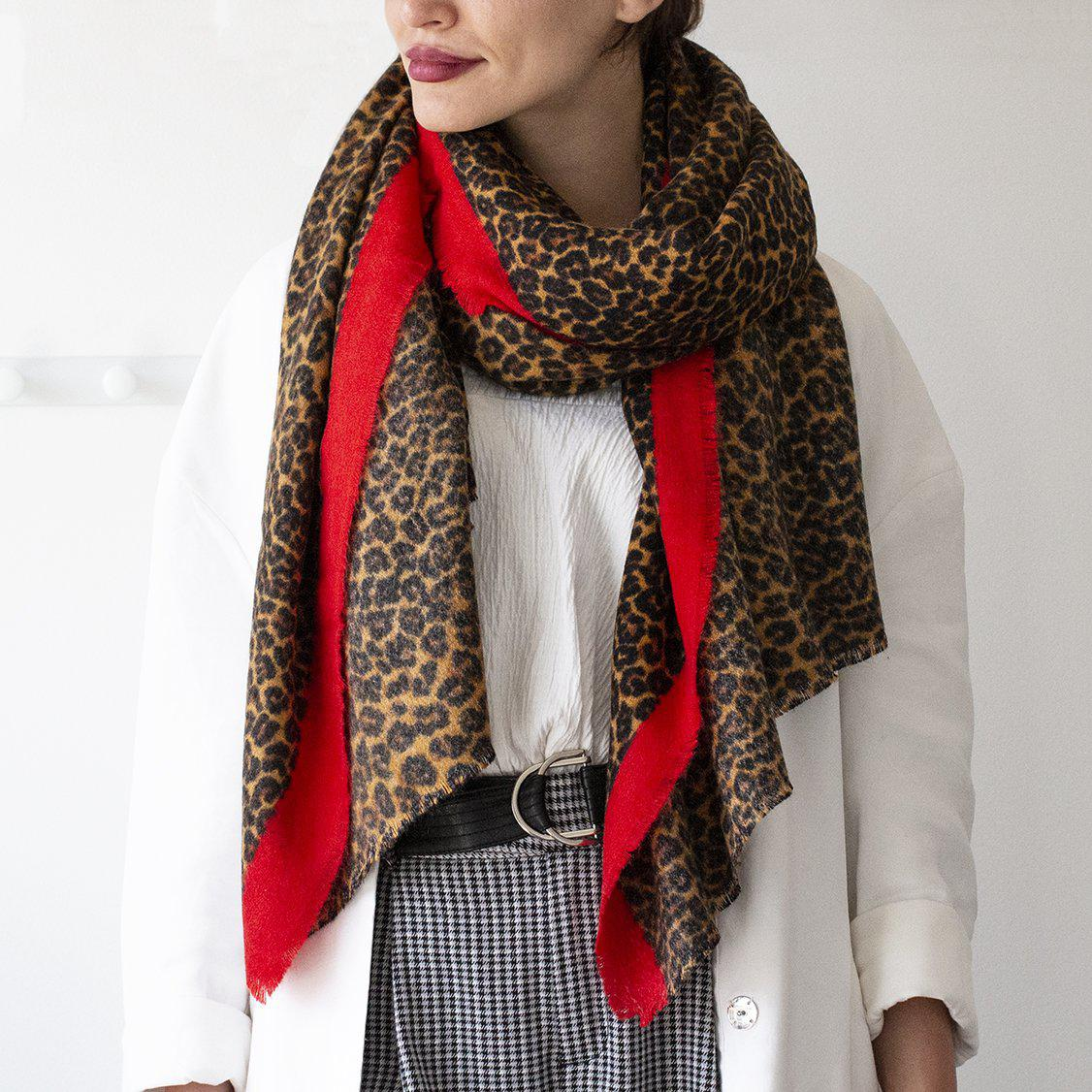 Personalised Fine Border Leopard Print Scarf