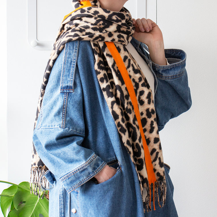 Leopard and Stripe Orange Scarf