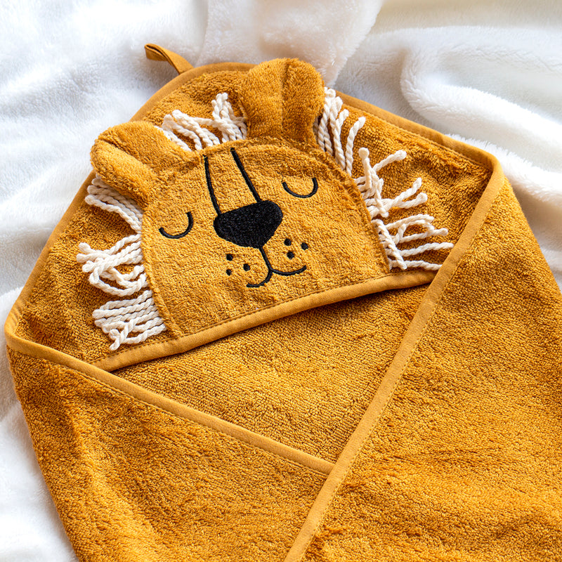 Baby Animals Hooded Cotton Towel-Towel-Studio Hop-Lion-Studio Hop