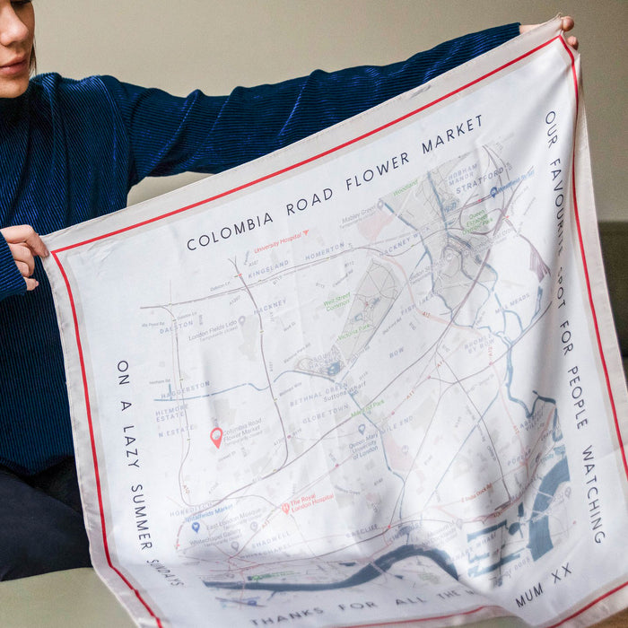 Vintage Locations Map Square Scarf