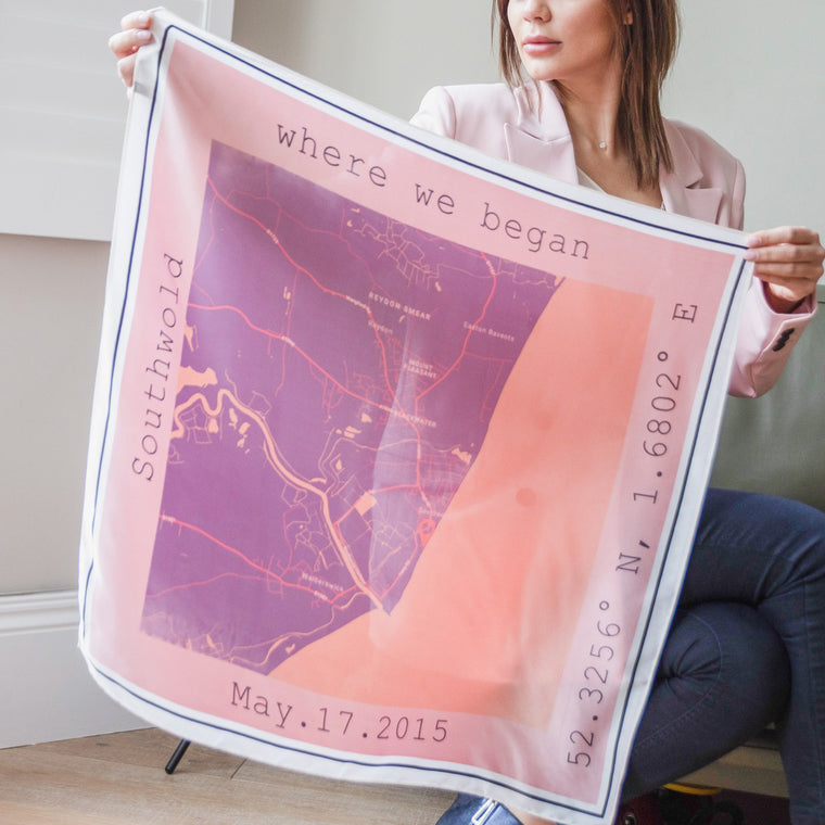 World Map in Pink Personalised Location Scarf