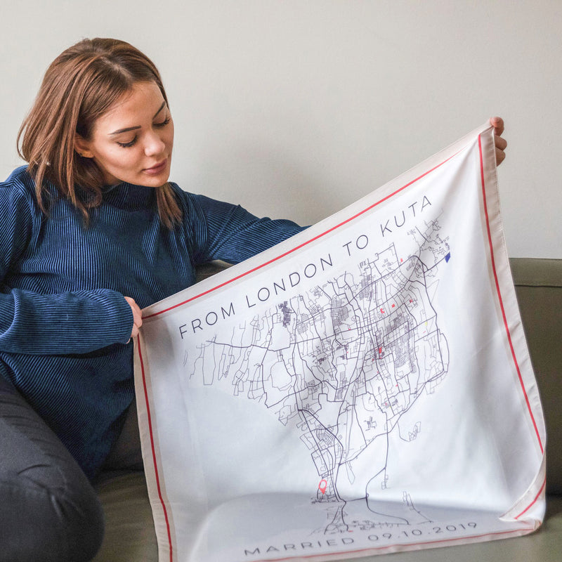 Mono Colour Pop Map Square Scarf