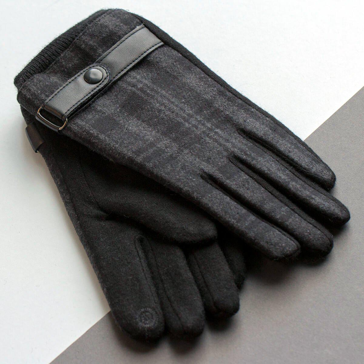 Personalised Men's Merino Gloves with Strap Detail