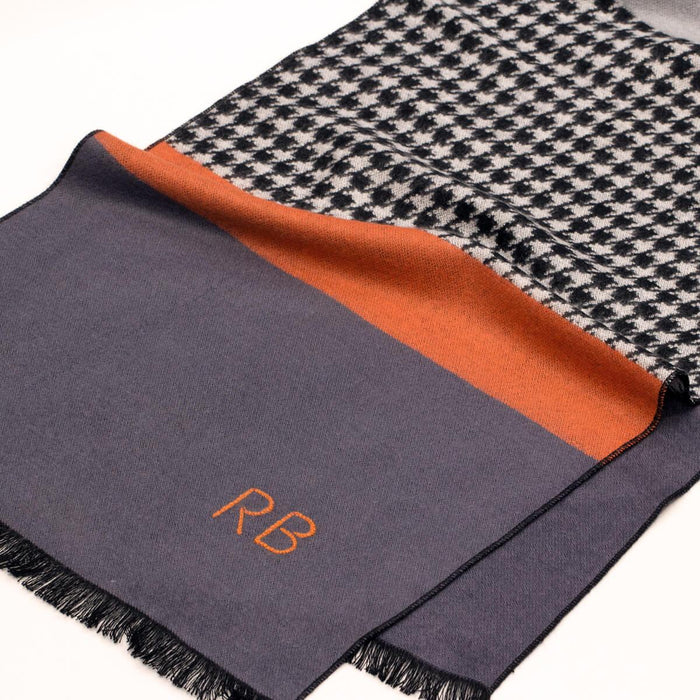 Personalised Men's Houndstooth Stripe Scarf