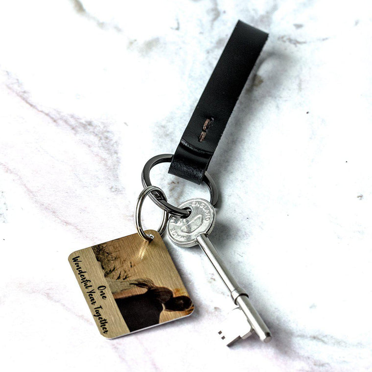 Personalised Minimalist Leather Keyring with Photo Plate