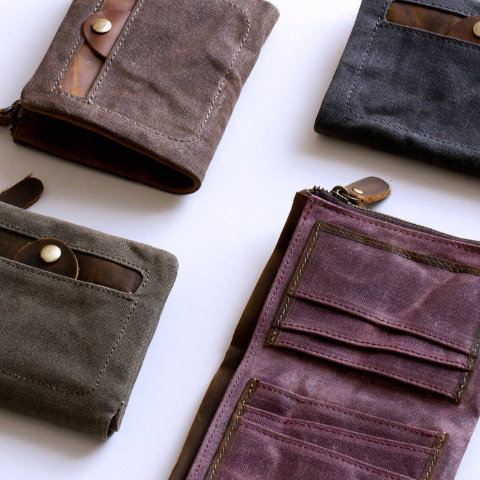 Waxed Cotton & Leather Wallet