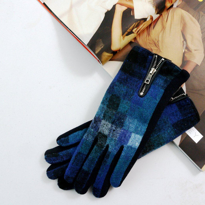 Merino Wool Check Gloves With Zip