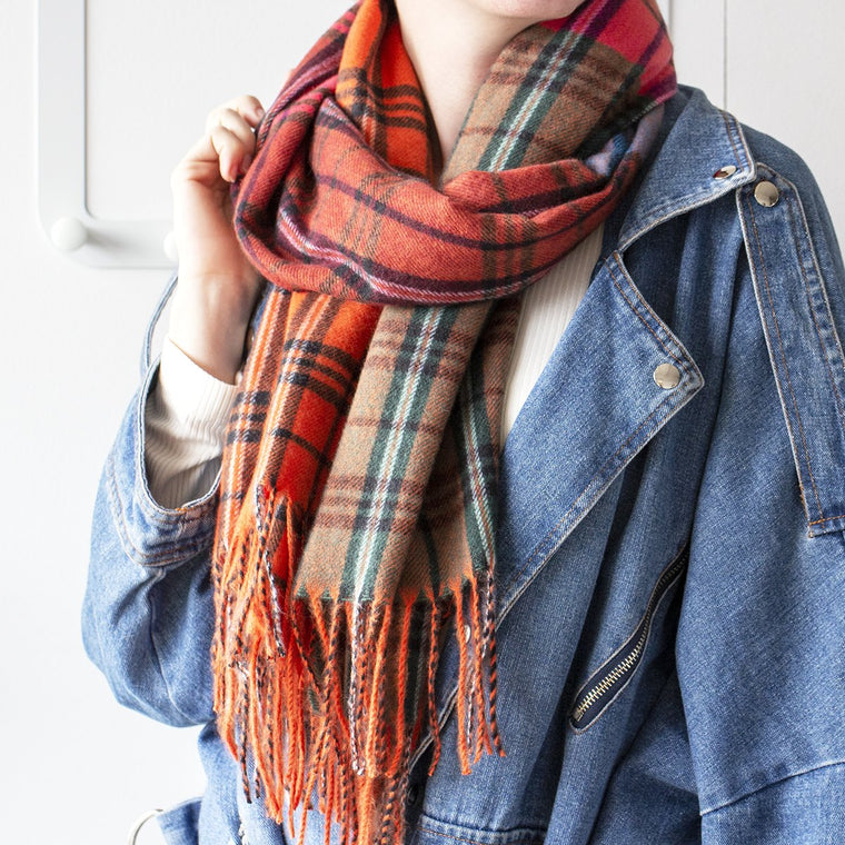 Vibrant Variety Check Squares Scarf