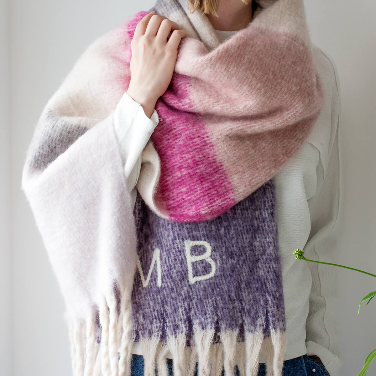 Personalised Chunky Stripe Blanket Scarf