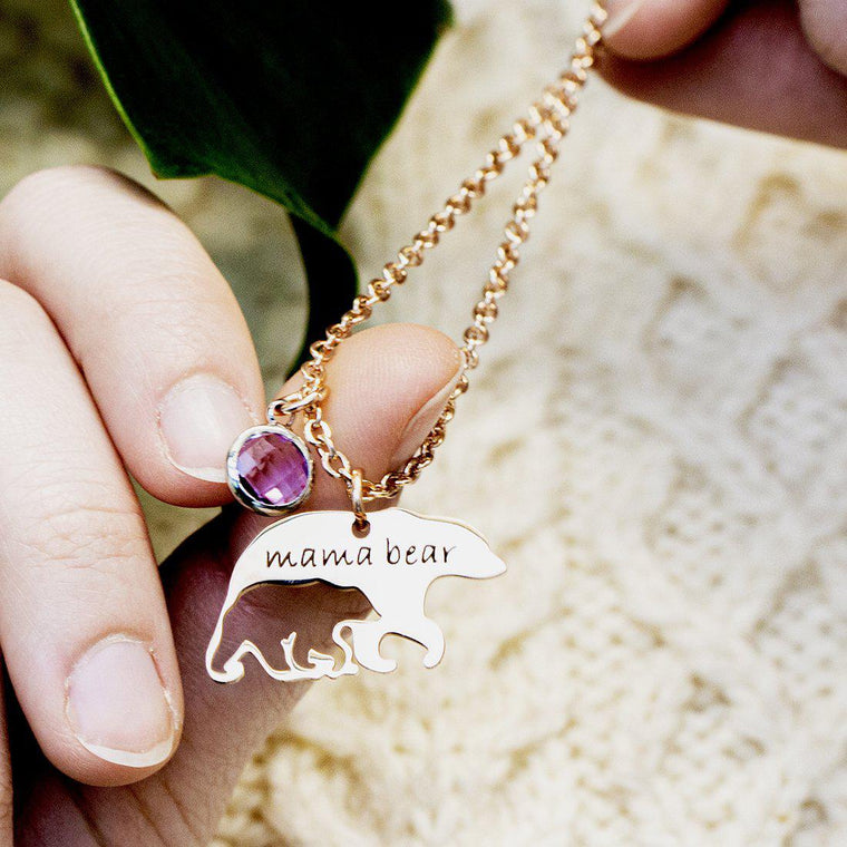 Birthstones Mama Bear Necklace
