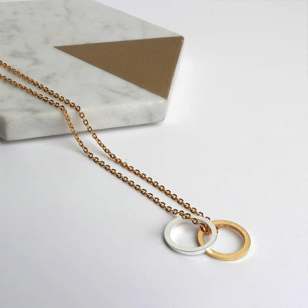 Necklace - Circle Link Two Tone Necklace With Personalised Box