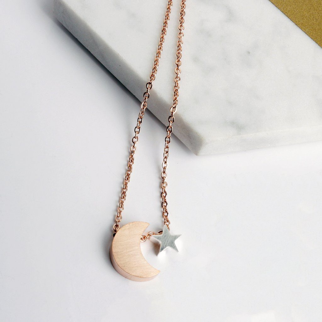 Necklace - Moon And Star Rose Gold And Silver Necklace