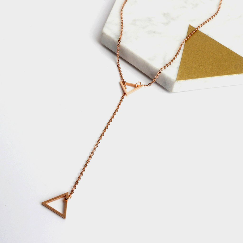 Necklace - Triangle Silde Rose Gold Necklace