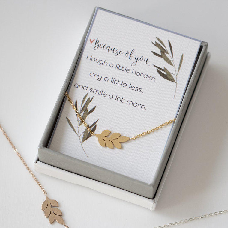 Olive Leaf Silhouette Necklace